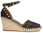 Valentino Rockstud Double Espadrille Leather Wedges in Black.