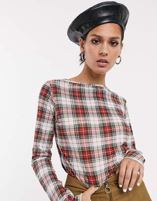 Cheap Monday Explicit long sleeved check top-Red