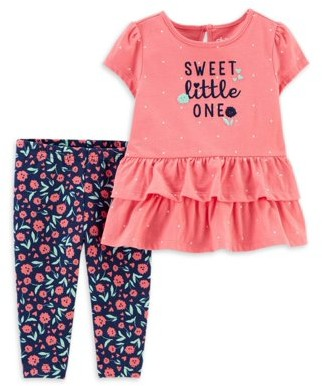 Carter's Child Of Mine By Child of Mine by Baby Girl Peplum Shirt & Floral Pant Outfit, 2pc Set