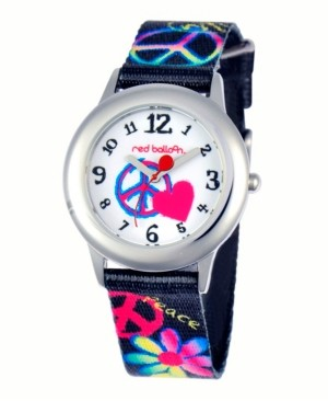 EWatchFactory Red Balloon Peace, Love & Happiness Girls' Stainless Steel Watch