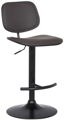 Overstock Adjustable Leatherette Swivel Barstool with Split Round Back, Gray and Black