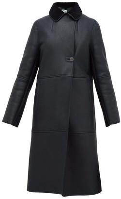 Loewe Notch-lapel Shearling Coat - Womens - Navy