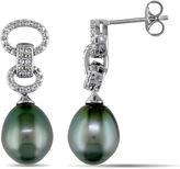 FINE JEWELRY Genuine Black Tahitian Pearl & Diamond Accent Sterling Silver Earrings
