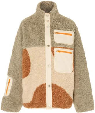 Sandy Liang Otto Leather-Paneled Colorblock Fleece Jacket