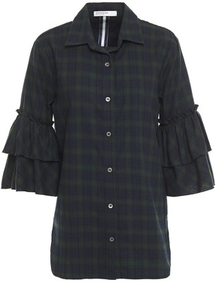 Stateside Ruffled Checked Cotton-flannel Shirt