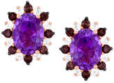 LeVian Le Vian® Princess Alexandra Amethyst (2 ct. t.w.), Smoky Quartz (1/3 ct. t.w.) and White Topaz (1/4 ct. t.w.) Stud Earrings in 14k Rose Gold