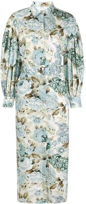 P.A.R.O.S.H. Floral Print Midi Shirt Dress