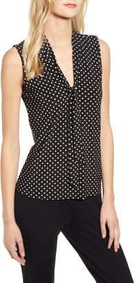 Anne Klein Polka Dot Tie Neck Sleeveless Top