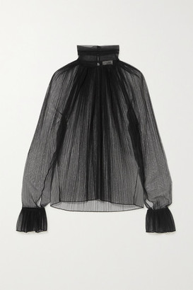 Saint Laurent Ruffled Plisse Silk-tulle Turtleneck Blouse - Black