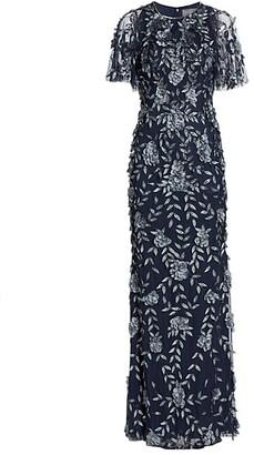 Theia Petal Applique Gown