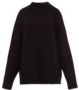Raey Crew-neck Basketweave Wool Sweater - Black