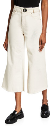 Mother of Pearl Cropped Wide-Leg Denim Trousers
