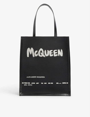 Alexander McQueen Graffiti logo-print canvas and leather tote