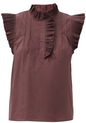Sea Karla Ruffled Cotton-blend Top - Burgundy