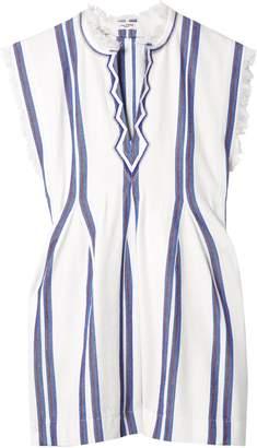Etoile Isabel Marant Denize Frayed Striped Cotton Top
