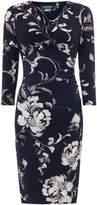 Lauren Ralph Lauren 3/4 sleeve ruched detail printed dress