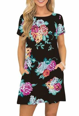 YMING Women's Short Sleeve Dress Loose Dress Summer Dress Long Shirt Dress Navy Blue-Peony S