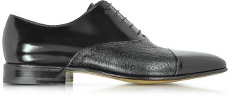 Moreschi Digione Black Peccary and Calf Leather Oxford Shoes