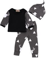 Gobrillant Newborn Baby Girl Boy Clothes Deer Tops T-shirt+Pants Leggings 3pcs Outfits Set (6-12 Months, )