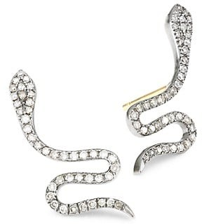 Nina Gilin Black Rhodium-Plated & Diamond Pave Snake Stud Earrings