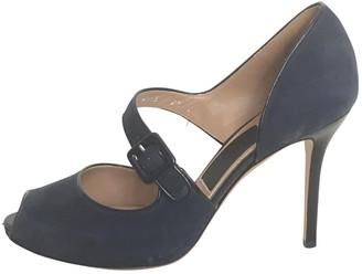 Salvatore Ferragamo Navy Leather Heels