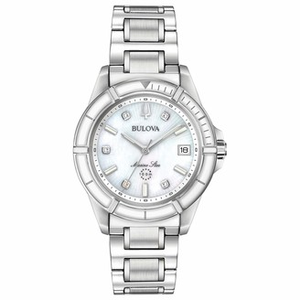 Bulova Ladies' Marine Star Quartz Watch in Stainless Steel with Diamonds Silver and White Enamel 96P201