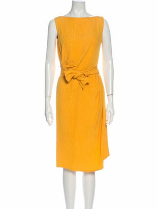 Saint Laurent Bateau Neckline Knee-Length Dress Yellow