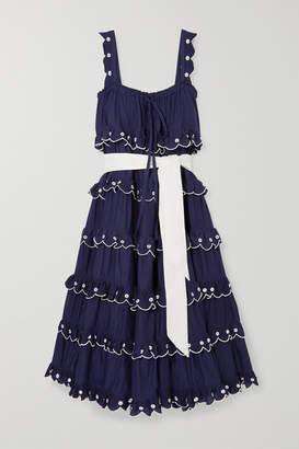 Innika Choo Iva Biigdres Embroidered Tiered Cotton Midi Dress - Navy