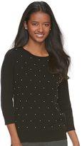 Elle Women's ElleTM Beaded Crewneck Sweater