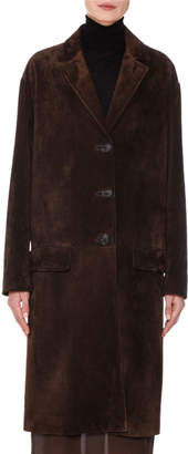 Prada Suede Button-Front Trench Coat