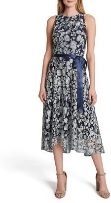 Tahari Floral Metallic Embroidered Midi Dress