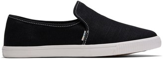 Black Heritage Canvas Contrast Stitching Women's Clemente Slip-Ons Topanga Collection