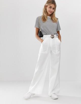 ASOS DESIGN washed wide leg flare trouser with belt