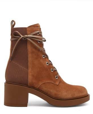 Gianvito Rossi Panelled 45 Laced Block-heel Suede Boots - Tan