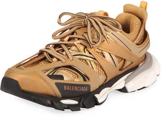 Balenciaga Men's Track Mesh/Nylon Metallic Sneakers