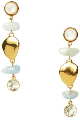 Lizzie Fortunato Blue Cove 18K Goldplated, Mother-Of-Pearl & Multi-Stone Drop Earrings