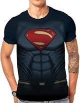 Batman Men's Vs Superman-Sublimated Superman Costume T-Shirts,Large