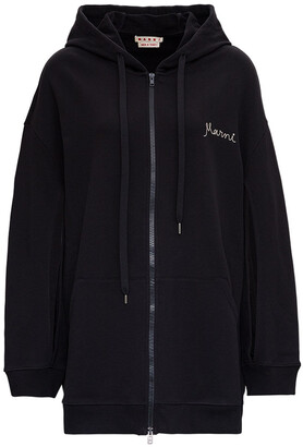 Marni Logo Embroidered Slit Detail Hooded Jacket