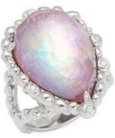 Michael Aram Mother-of-Pearl, Crystal Quartz & Sterling Silver Faceted Ring