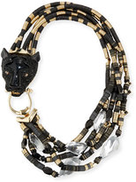 Alexis Bittar Beaded Multi-Strand Panther Necklace, Black