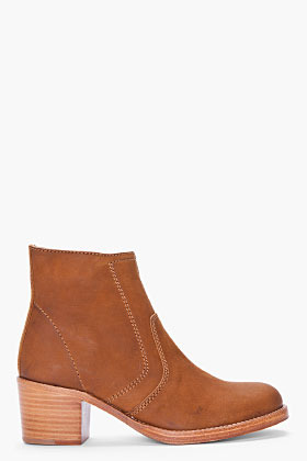 A.P.C. tan leather Camarguaise ankle boot