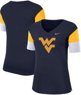 Nike Women's Navy/Gold West Virginia Mountaineers Breathe Team Sleeve Performance V-Neck T-Shirt
