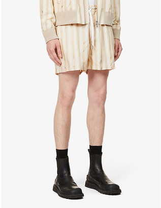 Tiger of Sweden Mid-rise metallic stripe woven shorts
