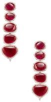 Artisan 18K Rose Gold, Ruby & 2.82 Total Ct. Diamond Drop Earrings