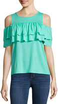 A.N.A a.n.a Double Ruffle Cold Shoulder Top