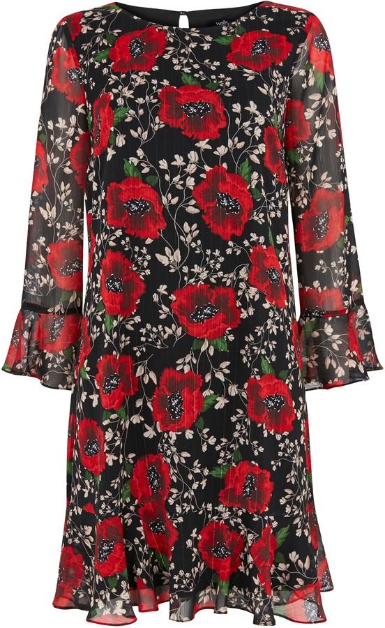 Wallis Black Floral Print Flute Sleeve Dress