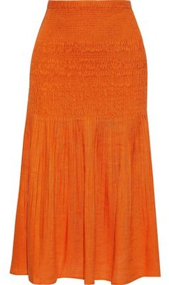 Nicholas Shirred Pleated Gauze Midi Skirt