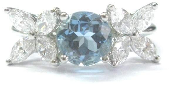 Tiffany & Co. Platinum Victoria Diamond Aquamarine Ring