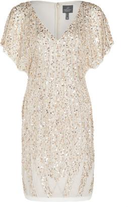 Adrianna Papell Beade Flutter Sleeve Dress