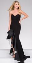 Jovani Strapless Sweetheart Ruffle Thigh Slit Evening Dress